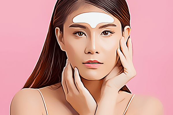 woman with wrinkle patch